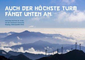 Berge in China mit Windenergieanlagen