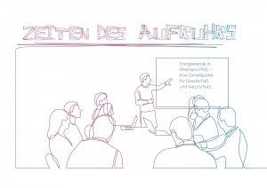 Skizze einer Sitzung mit Menschen und Tafel