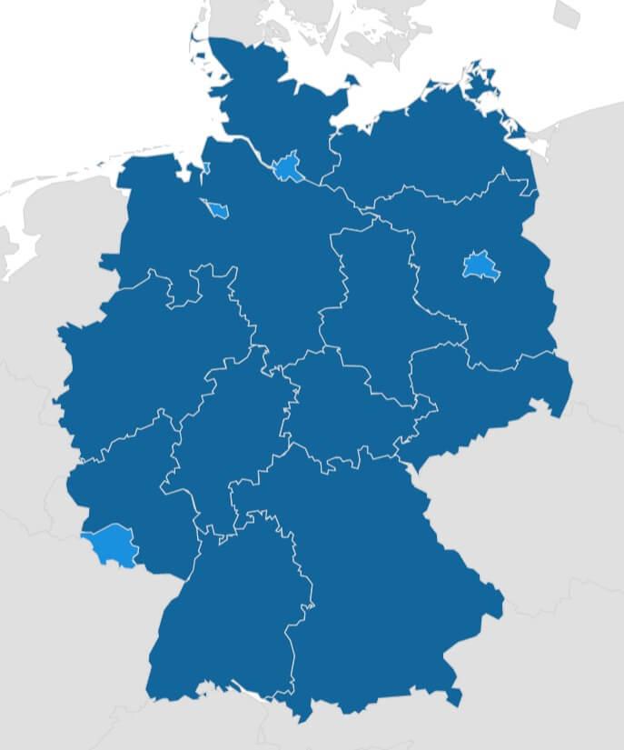 deutschlandkarte interaktiv Interaktive Deutschlandkarte zur KNE Konfliktlösung vor Ort