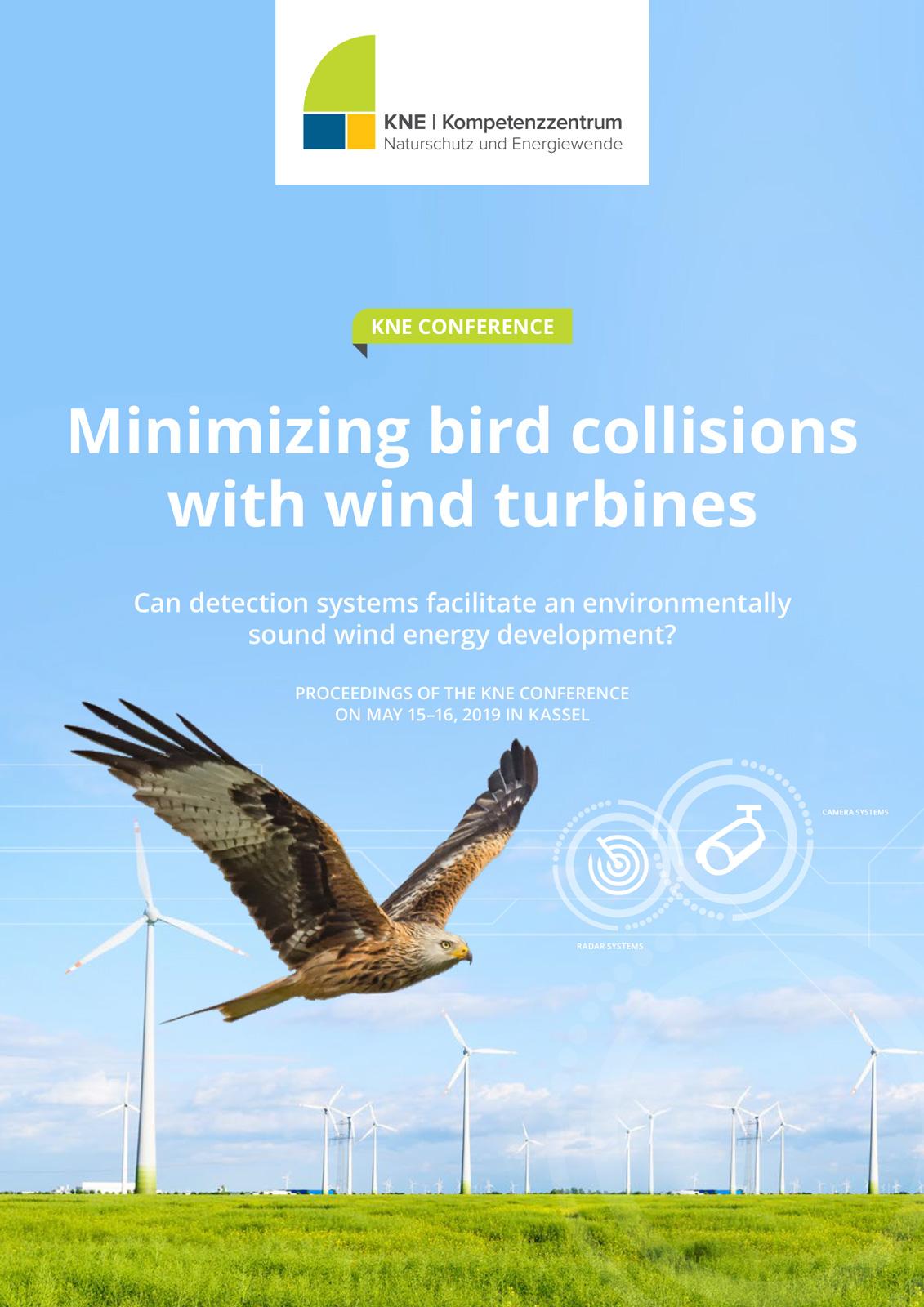 Titelbild einer Publikation - Rotmilan fliegt vor Windenergieanlagen Systeme zur Minderung von Vogelkollisionen an Windenergieanlagen
