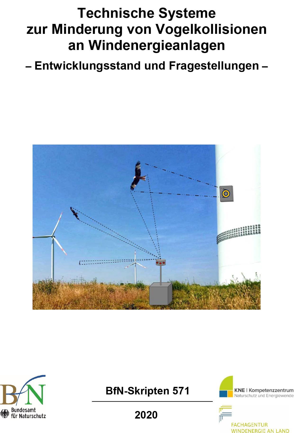 Titelbild der Publikation Publikation BfN, KNE, FFA Wind: Technische Systeme zur Minderung von Vogelkollisionen an Windenergieanlagen