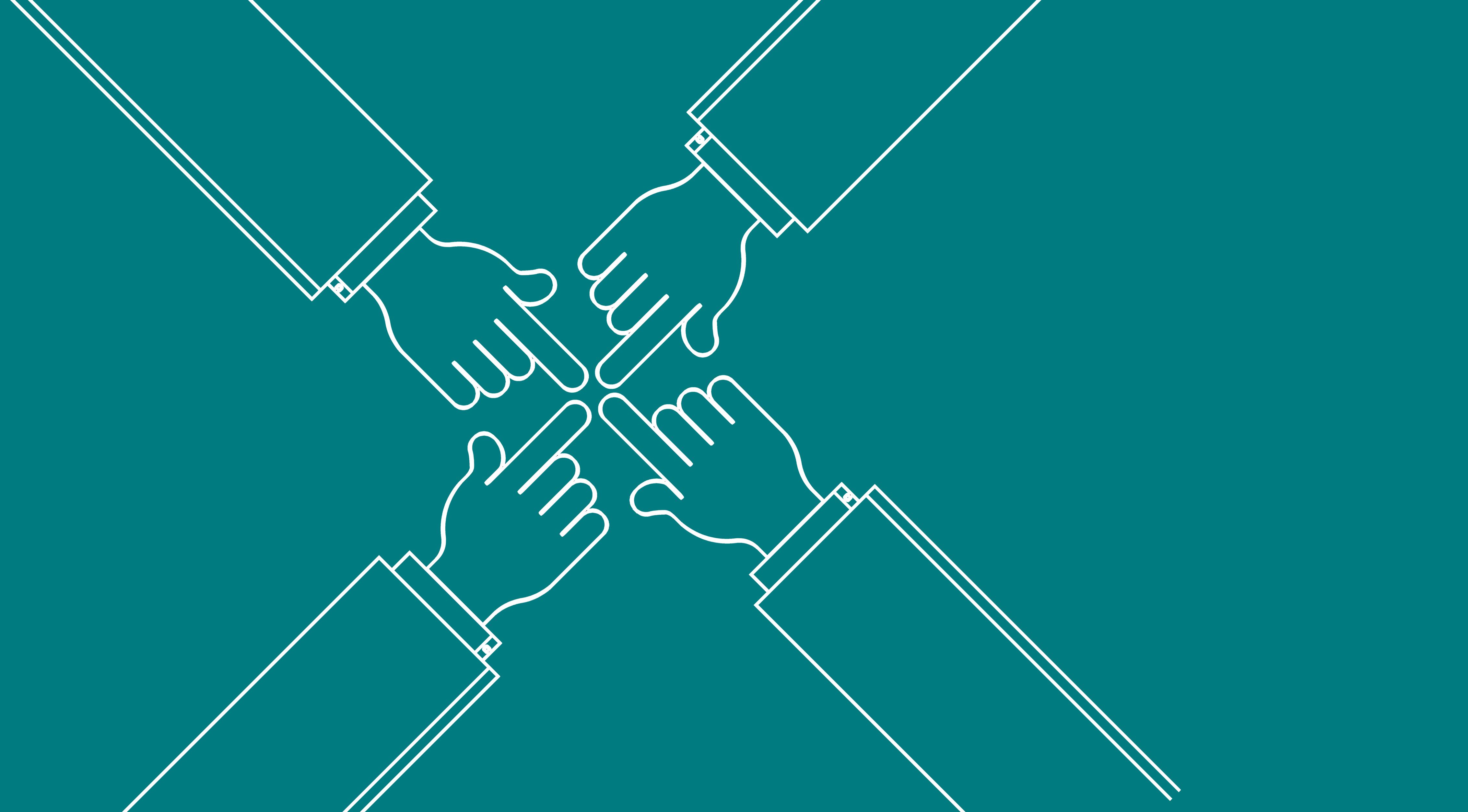 Hände: Gemeinsam für ein Ziel